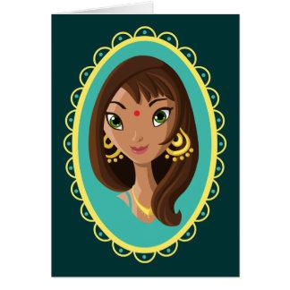 Asha la belleza india tarjeta de felicitación
