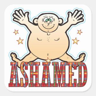 Ashamed Fat Man Square Sticker