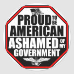 Ashamed Of My Government! Classic Round Sticker