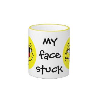 Ashamed Smiley Face Grumpey Ringer Coffee Mug