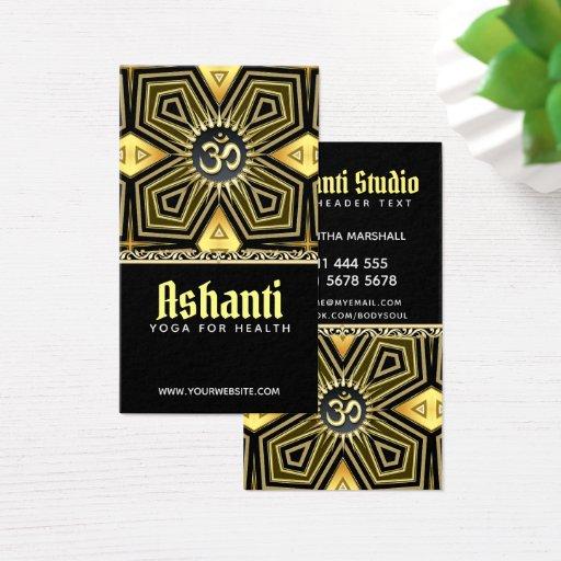 Ashanti Yoga  Black Gold Deco Business Card