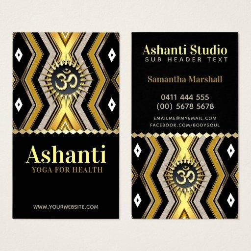 Ashanti Yoga Stylish Black Gold Business Card