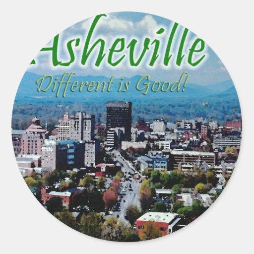 ¡Asheville… diferente es buena! Pegatina Redonda