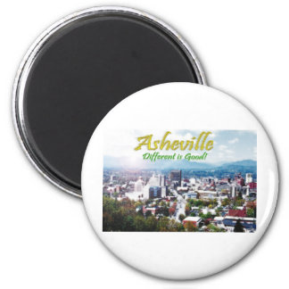 Asheville...Different is good! 2 Inch Round Magnet