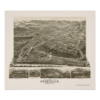 Asheville, mapa panorámico del NC - 1891 Posters