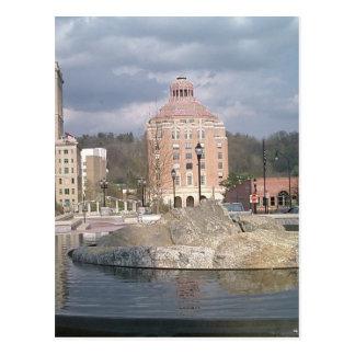 Asheville nc fountain postcard