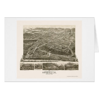 Asheville, NC Panoramic Map - 1891 Greeting Card