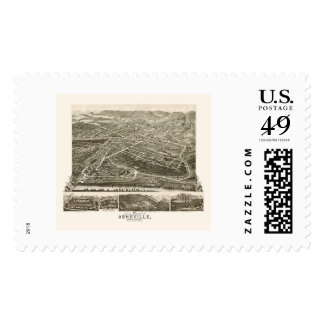 Asheville, NC Panoramic Map - 1891 Postage Stamps