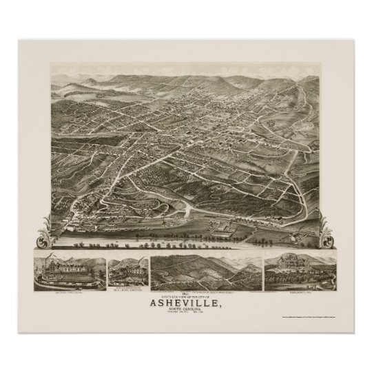 Asheville, NC Panoramic Map - 1891 Poster