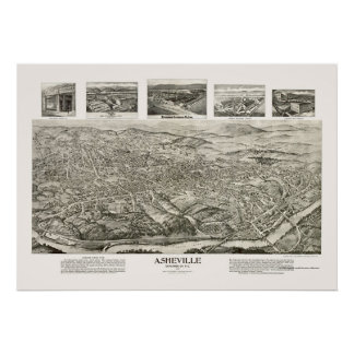 Asheville, NC Panoramic Map - 1912 Poster