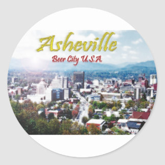 ASHEVILLE, NORTH CAROLINA Beer City USA Classic Round Sticker
