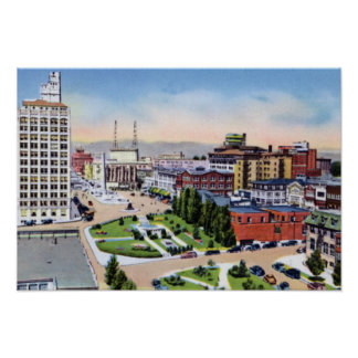 Asheville North Carolina City Plaza Poster