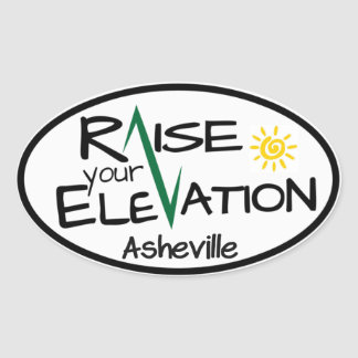 Asheville - Raise Your Elevation - Oval Sticker
