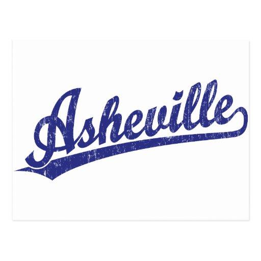 Asheville script logo in blue postcard