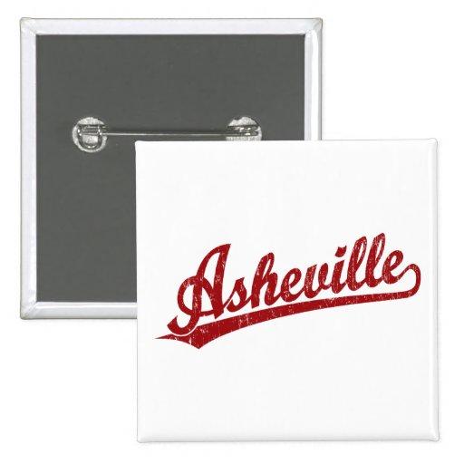Asheville script logo in red 2 inch square button