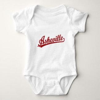 Asheville script logo in red baby bodysuit