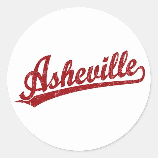 Asheville script logo in red classic round sticker