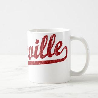 Asheville script logo in red coffee mug