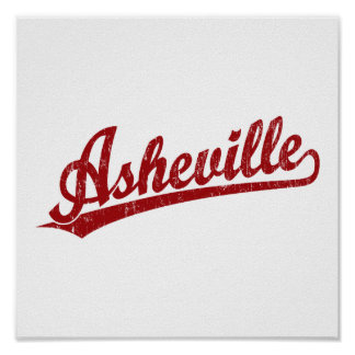 Asheville script logo in red poster