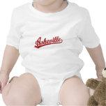 Asheville script logo in red t shirt