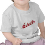 Asheville script logo in red t shirts