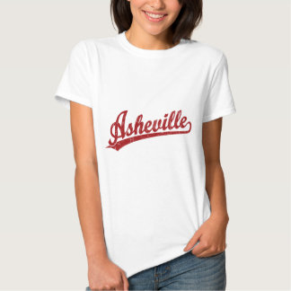 Asheville script logo in red tee shirt