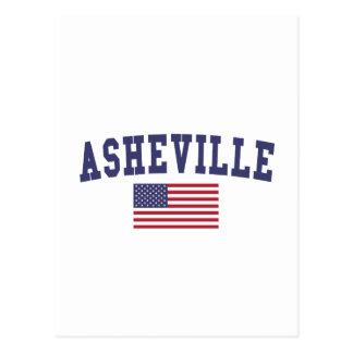 Asheville US Flag Postcard