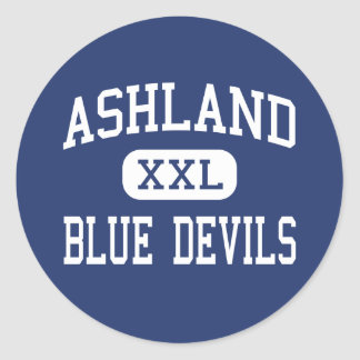 Ashland - diablos azules - alto - Ashland Mississi Pegatina Redonda