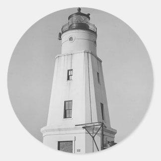Ashland Harbor Breakwater Lighthouse Classic Round Sticker
