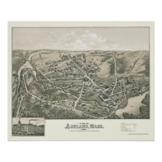 Ashland, MA Panoramic Map - 1878 Poster
