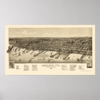 Ashland, mapa panorámico de los WI - 1886 Póster