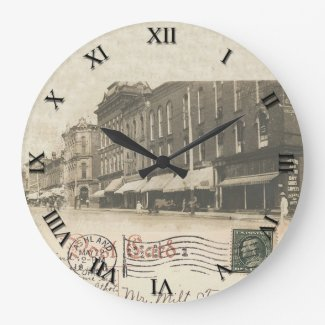 Ashland, OH Post Card Clock - Main St 1911