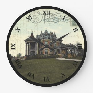 Ashland Ohio Post Card Clock - FE Myers Residence