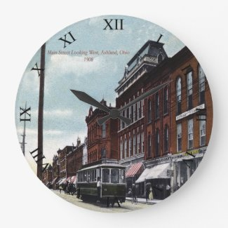 Ashland, Ohio Post Card Clock - Main St 1908
