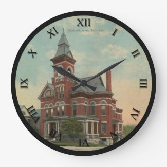Ashland Ohio Postcard Clock of Jail