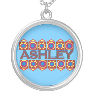 Ashley Abstract art southwestern over light blue Round Pendant Necklace