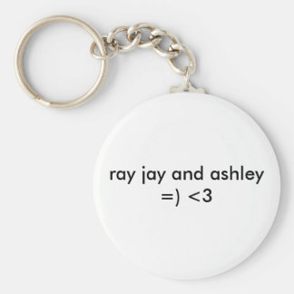 ASHLEY AND RAY JAY BASIC ROUND BUTTON KEYCHAIN