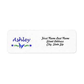 Ashley (Blue Butterfly) Label