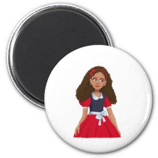 Ashley Cartoon girl Round Magnet