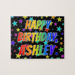 "[ Thumbnail: ""Ashley"" First Name, Fun ""Happy Birthday"" Jigsaw Puzzle ]"