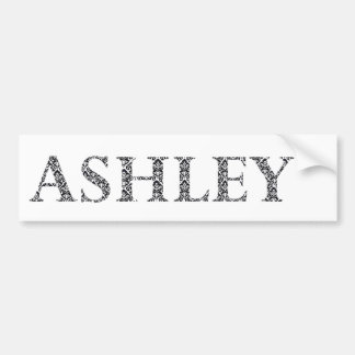 Ashley, Name, Damask, pattern, Black and white Bumper Sticker
