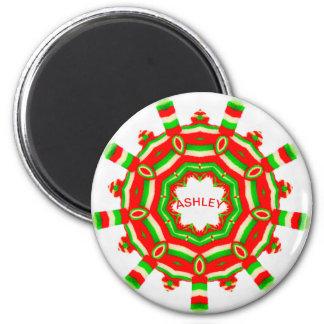 ASHLEY ~ Personalized Christmas Wheel Fractal ~ Magnet