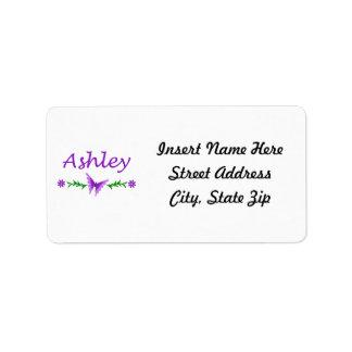 Ashley (Purple Butterfly) Label