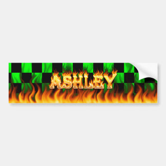 Ashley real fire and flames bumper sticker design.