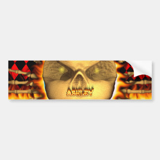 Ashley skull real fire and flames bumper sticker. bumper sticker
