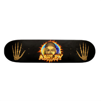 Ashley skull real fire and flames skateboard desig