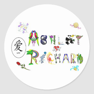 Ashley y Richard Pegatina Redonda