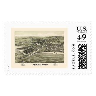 Ashtabula Harbor, OH Panoramic Map - 1896 Postage Stamp