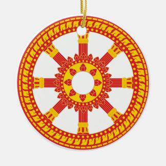 Ashtamangala Symbol Dharmachakra Wheel of Dharma Ceramic Ornament