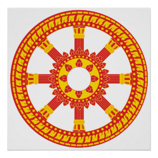 Ashtamangala Symbol Dharmachakra Wheel of Dharma Print